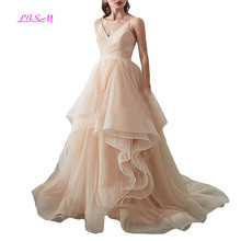 Princess Soft Tulle Wedding Dresses Ball Gown Spaghetti Straps Party Dress Lovely Sweetheart Ruffled Long Bridal vestidos