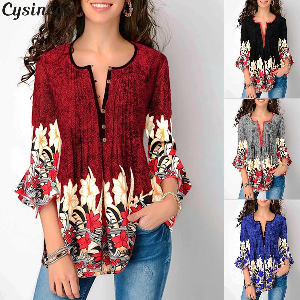 Cysincos Women   Blouses   2019 Fashion Seven-Quarter Sleeve O Collar Button Office Loose   Shirts   Chiffon   Blouse   Casual   Shirt   Tops