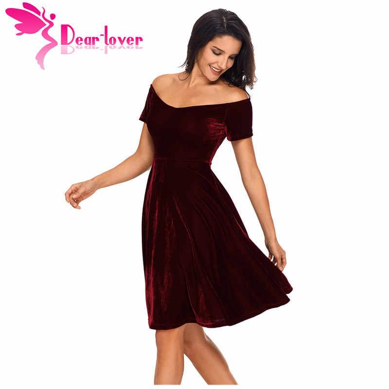 a4758760b4 Dear Lover Velvet Dresses 2018 Sexy Womens Party Vestidos de Festa Off  Shoulder Burgundy Pleated Midi Dress Robe Velours LC61861