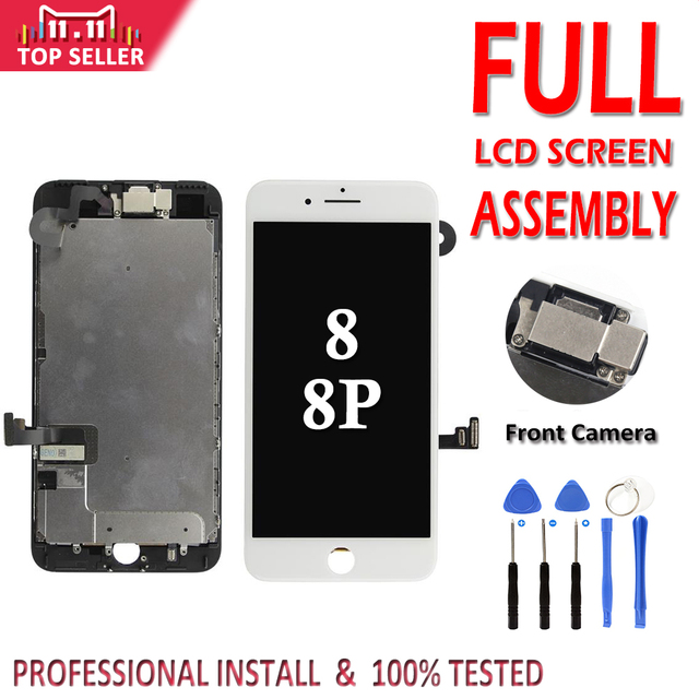 Full Set LCD for iPhone 8G 8 Plus LCD Complete Assembly Display Touch Screen Digitizer Replacement Front Camera No Home Button