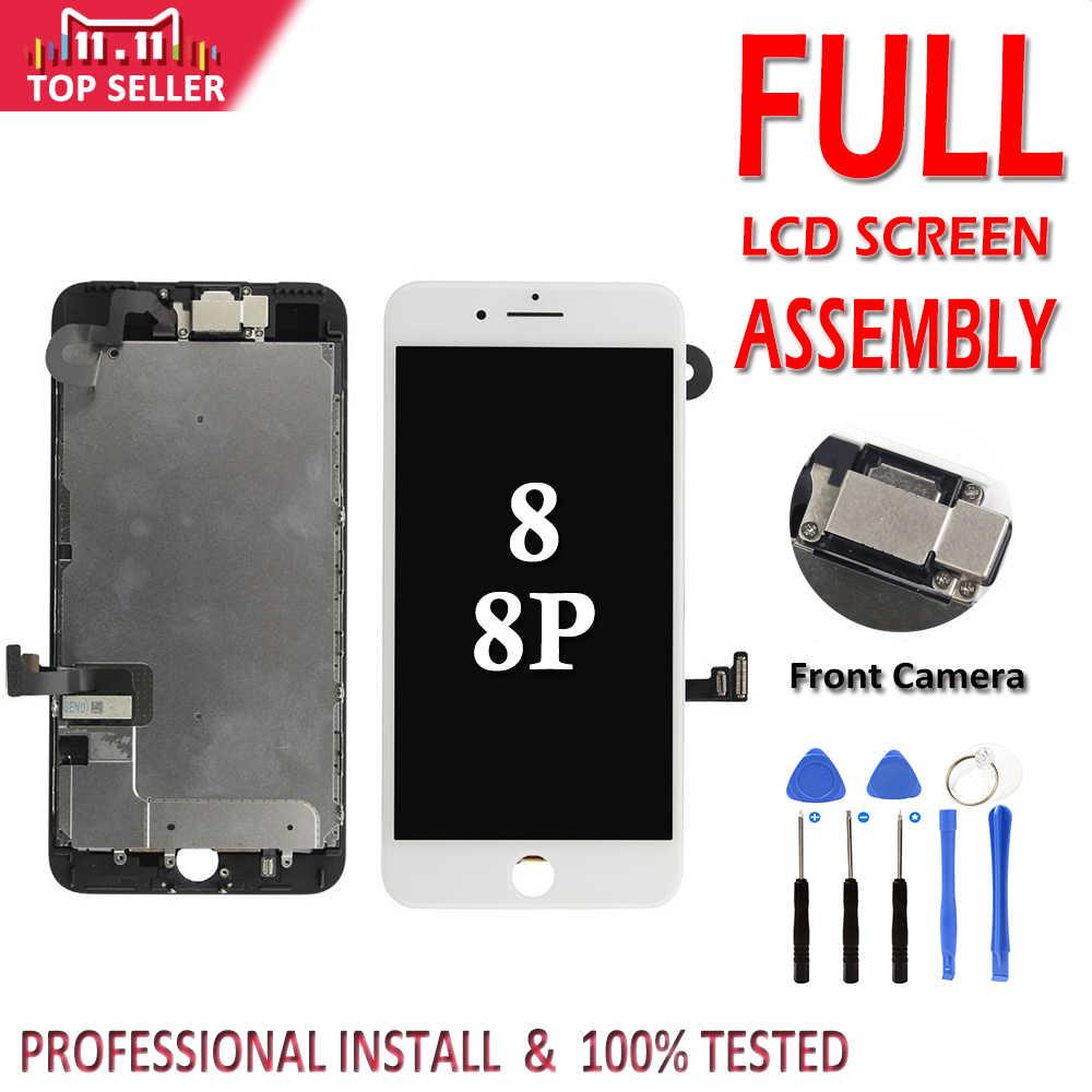 مجموعة كاملة LCD ل فون 8G 8 زائد LCD كاملة الجمعية عرض محول الأرقام بشاشة تعمل بلمس استبدال كاميرا أمامية لا المنزل زر
