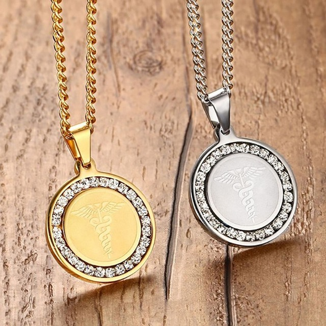 Engraved Medical Alert ID Necklace Pendant Surgical Steel CZ Stone 1