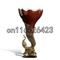 Творческий украшения дома Роскошные гостиная керамические инкрустированные медь Павлин декоративные украшения Бесплатная доставка