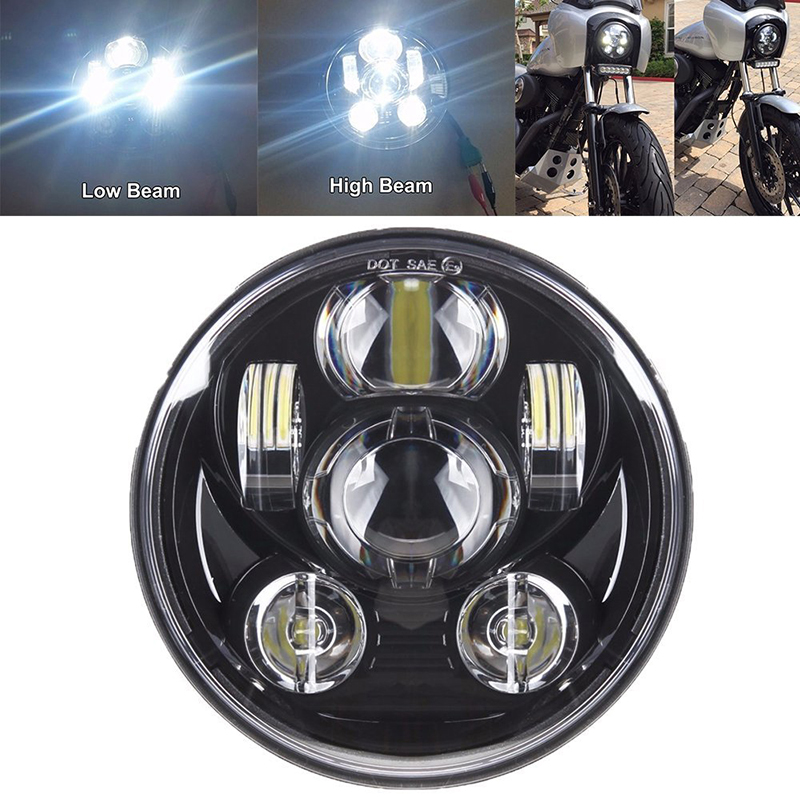 for Harley Davidson treet Sportster Softail Dyna Touring Road King Fat Boy 5 3/4 5.75 inch Motorcycle Led Headlight Light Hi Lo rsd motorcycle 5 hole beveled derby cover aluminum for harley touring flh t 2016 2017 for flhtcul and flhtkl 2015 2016 2017