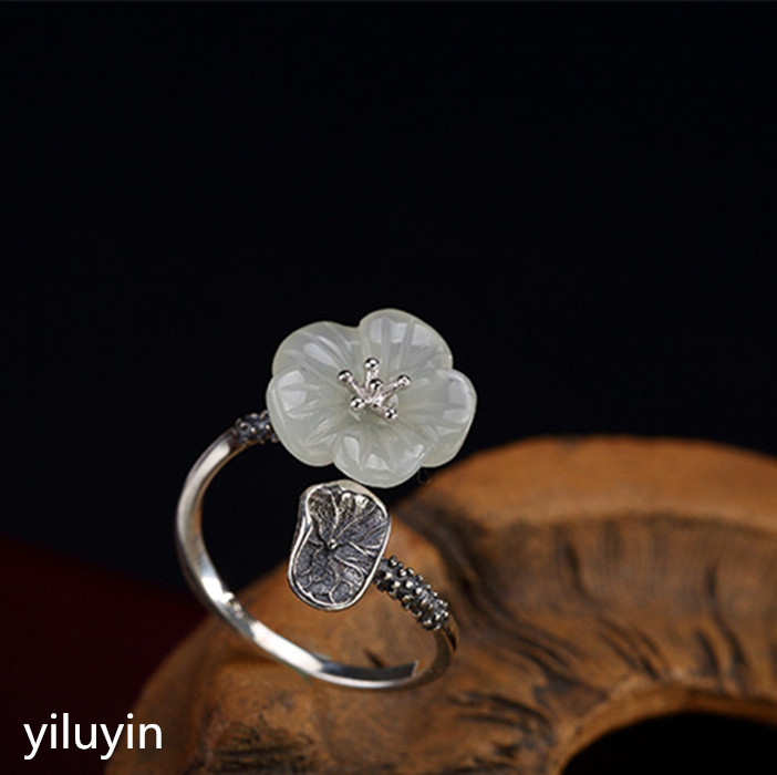 Kjjeaxcmy Boutique Jewelry S925 Sterling Silver Antique Inlaid And Tian Yu White Jade Rose Lady Opening Silver Ring Finger Ring Fine Jewelry