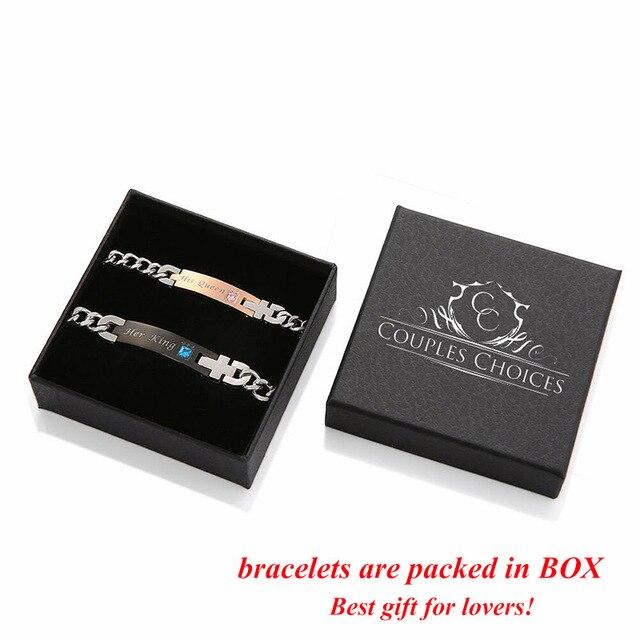 AZIZ BEKKAOUI Couple Bracelets with Box Best Gift Bracelets For Women Stainless Steel Men Female Fashion Jewelry Drop Shipping