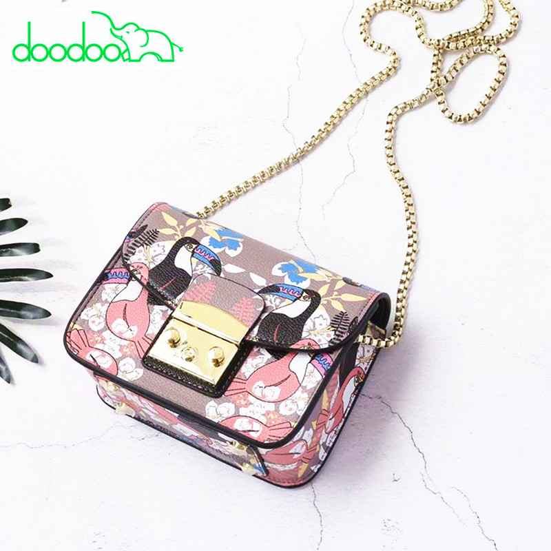 2018 High Quality Flap Bags Fruit and Animal Pattern Women Leather Handbags Popular Brand Designer Chain Shoulder Messenger Bags