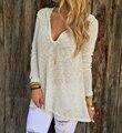 Одежда для пляжа свободного покроя с капюшоном майка женщины топы V шея вязаный прозрачный длинные рубашка перемычка с длинным рукавом blusas femininas T51129