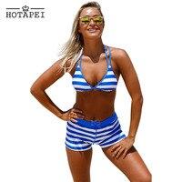 ביקיני סקסי קצרה צפצף + פס העליון Hotapei Chambray קוטג 'הלטר L410232 Boyshort סט Biquini בגד ים רחצה נשים 2 יחידות חליפת