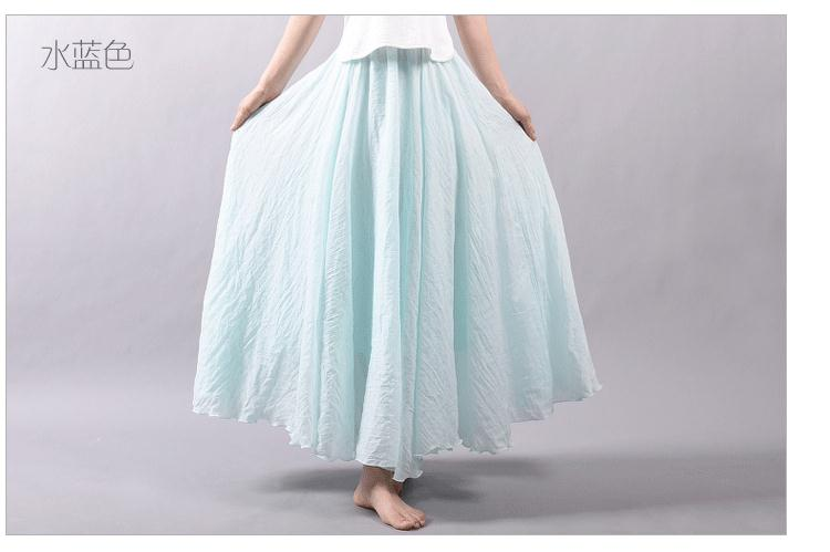 Sherhure 19 Women Linen Cotton Long Skirts Elastic Waist Pleated Maxi Skirts Beach Boho Vintage Summer Skirts Faldas Saia 40