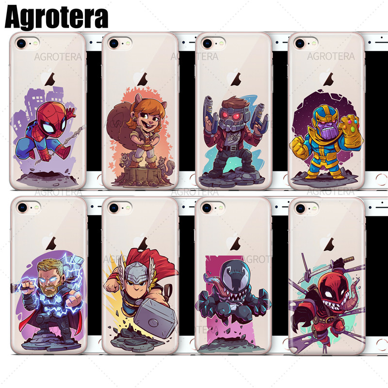 Agrotera Clear TPU Case Cover for iPhone 7 8 Star-Lord Thanos Thor Venom Venompool Winter Soldier Wolverine Yondu image