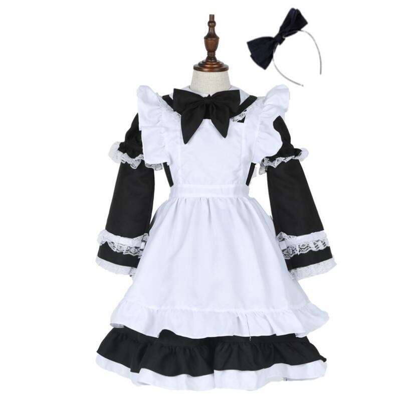 Kids Girls Alice Maid Cosplay Carnival Costume Child Fancy Dress Halloween Alice In Wonderland Costume Lolita Maid Dress