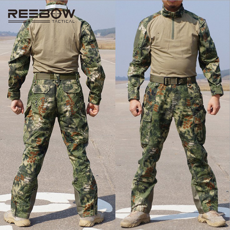 REEBOW TACTICAL Outdoor Men Python Camouflage Hunting Uniforms of Shirt & Pants Military Set of Pullovers and Trousers reebow tactical men plus size cargo pants outdoor sports running loose fatty trousers 4xl 5xl 6xl max 135cm waist 140kg