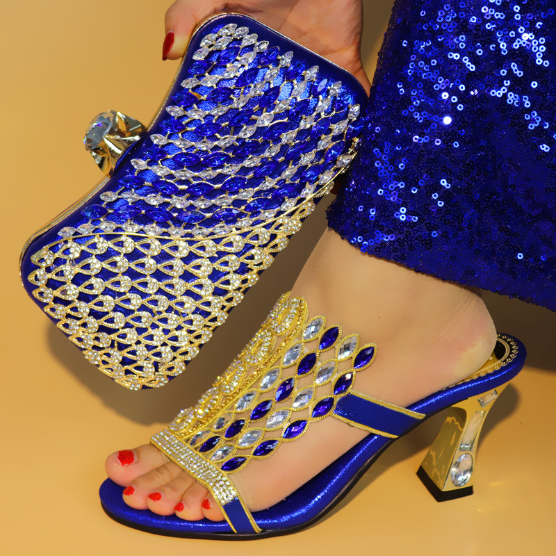 New Blue Color Matching Italian Shoe and Bag Set African Matching Shoes and Bags Italian In Women Nigerian Royal Shoesfor Party стоимость
