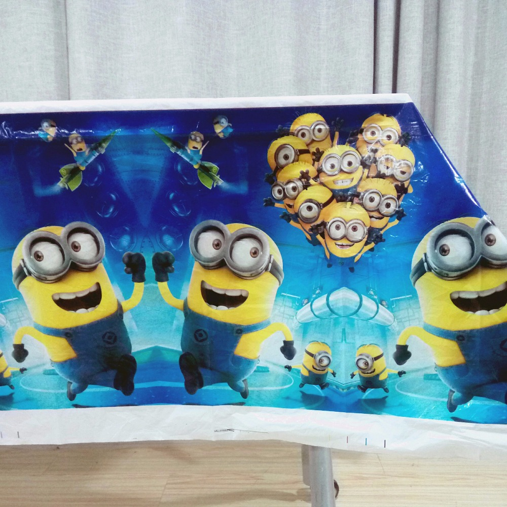108cm*180cm Minions Babyshower Cartoon Theme Party Disposal Table Cloth  Birthday Party Decoration Kids Favor Party Supplies Set  In Disposable  Party ...