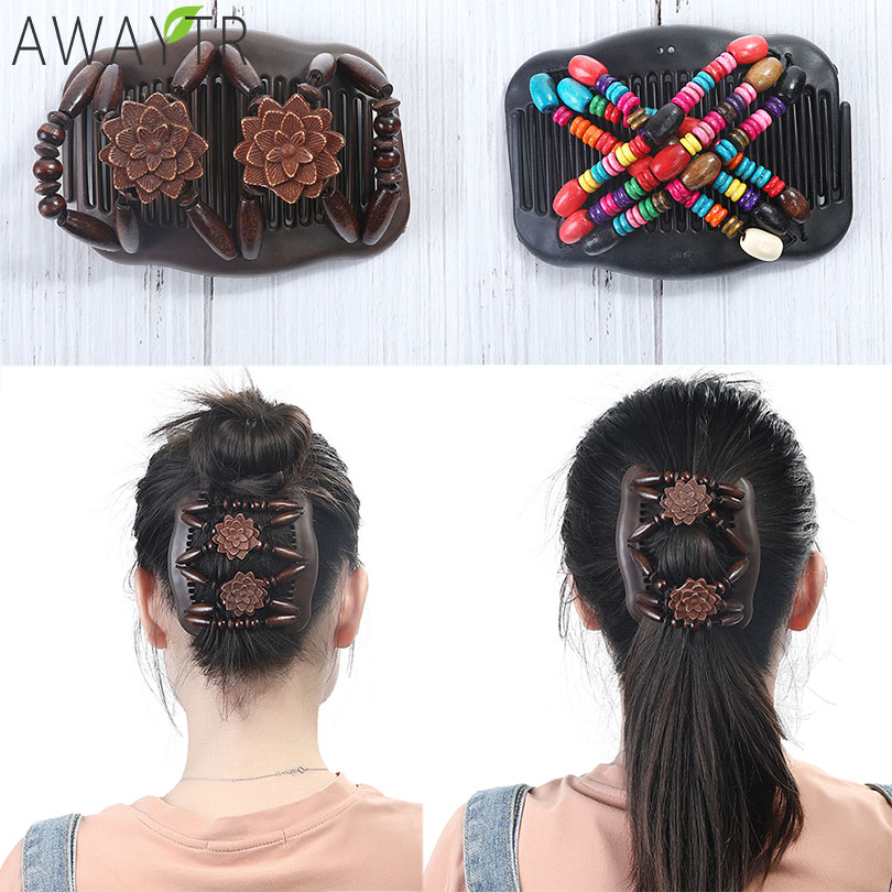 Hair Clip Trend 2019: Vintage Magic Combs For Women Beads Elasticity Double Hair