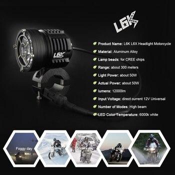 2 Pièces Universel LED Moto Rcycle Phare L6K 12000lm Externe Moto DRL Accessoires Ampoule L6X LED Moto Rbike Blanche De Projecteur 12 V