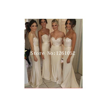 Beige Sweetheart Strapless Sequin Bodice  Sheath Chiffon Floor Length Bridesmaid Dresses