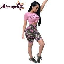 782561416aa9 Ahmagen 2018 2 Piece Set Women Jumpsuit Letter Print Crop Top High Waist  Camo Pants