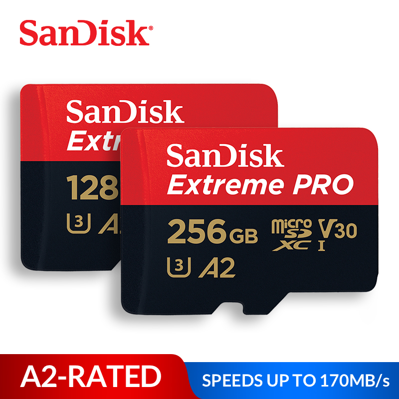 SanDisk Memory Card Extreme Pro Micro SD Card 32GB 64GB 128GB 256GB 400GB SDHC/SDXC UHS-I C10 U3 V30 A2 TF Card for Camera Drone