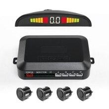 4 pces sistema de sensores de estacionamento do carro com display led indicador automático invertendo radar monitor detector longevidade sensor de estacionamento automático