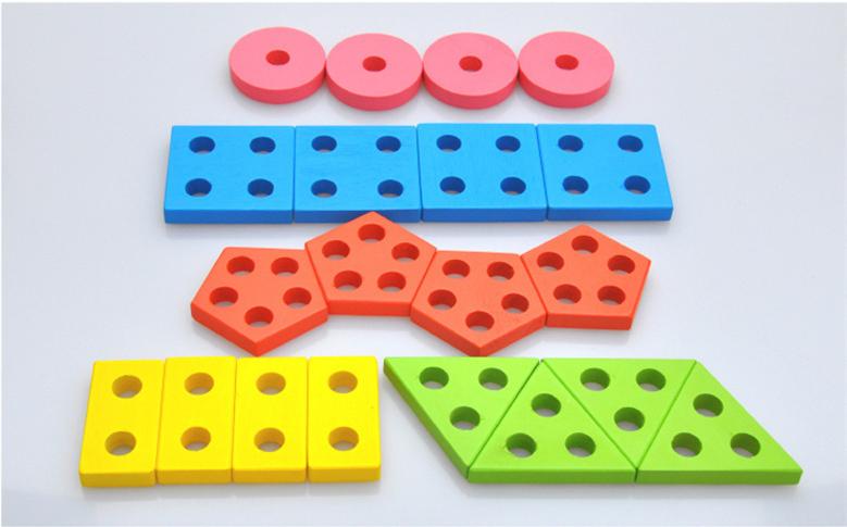 Montessori Toys Wooden Blocks Geometry Shape Model Building Kits Children Educational Toy Wood Building Blocks 6