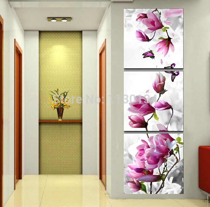 Vertical orchid diy diamond painting triptych decor painting square drill rhinestone embroidery - Cuadros verticales modernos ...