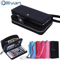 のためのiphone 6 plus case高級レディガール革財布ジッパーcaseスタンド財布折り畳までカードスロット用iphone 6s plus fundas