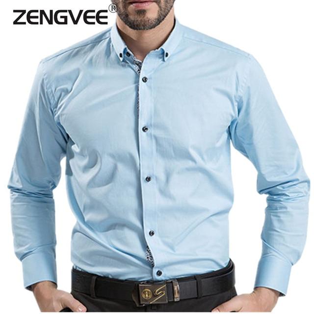 2017 Men Shirt Solid Cotton Long Sleeve Dress Shirts Slim Fit Turn-down Collar Male Shirts