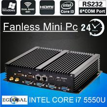 EGLOBAL 3 Yıl Ücretsiz Garanti Fansız Barebone Endüstriyel Mini PC Intel Core i3 5005U/i5 4200U/i7 5550U windows 10 2LAN 6COM