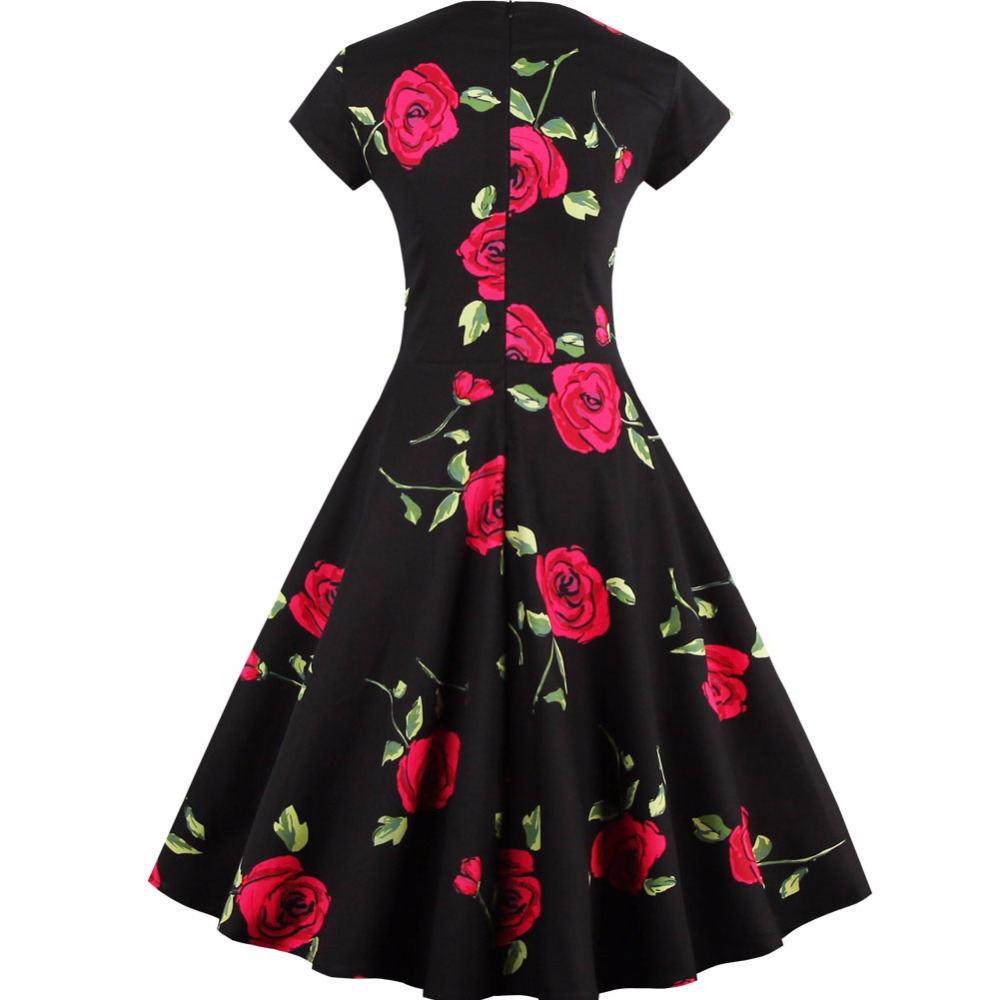 4a394ecebd380 Kenancy Plus Size Women Vintage 50s Dress Rockabilly Swing Rose Floral  Print Retro Dress Feminino Vestidos Ball Gow Party Dress-in Dresses from  Women s ...