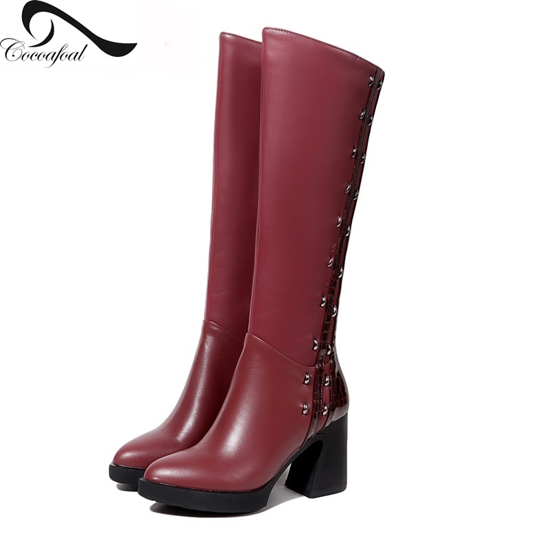ФОТО Wine Red Color/Black Boots Women 2017 Winter Autumn Zipper Fashion Knee-high Boots Woman Thigh High Heel Boots Genuine Leather