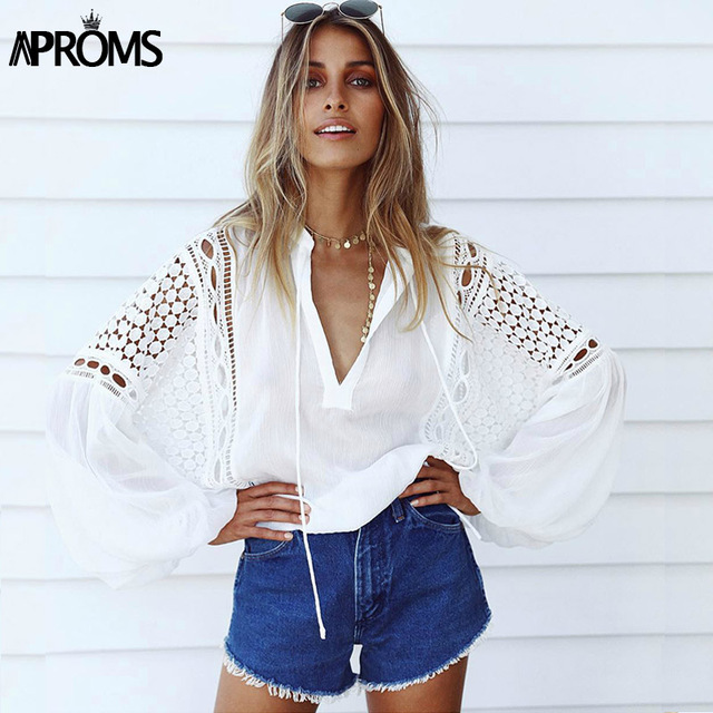 Aproms White Lace Crochet Blouse 2018Women's Lantern Sleeve Hollow Out Sheer Chiffon Shirt Cool Girls Casual Tunic Tops Blusas