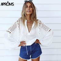 Aproms White Lace Crochet Blouse 2017 Women S Lantern Sleeve Hollow Out Sheer Chiffon Shirt Cool