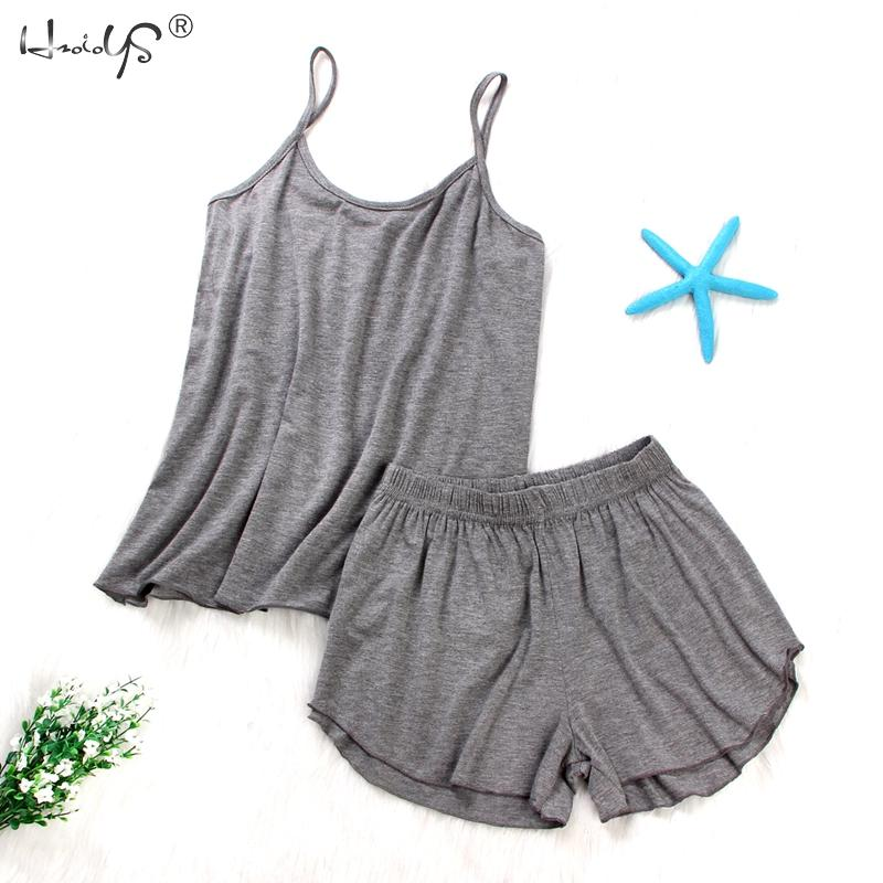 Women Sexy Lingerie   Pajamas   Summer Cotton Sleepwear Solid Spaghetti Strap Cami Tops Shorts Loose   Pajamas     Set   Home Suit