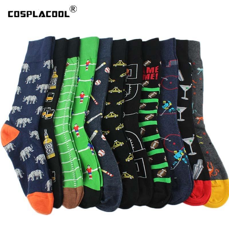 [Cosplacool]Cool Novelty Harajuku Crew Funny Socks Street Hip Hop Big Size Socks Men Divertidos Beer Skateboard Chaussette Homme