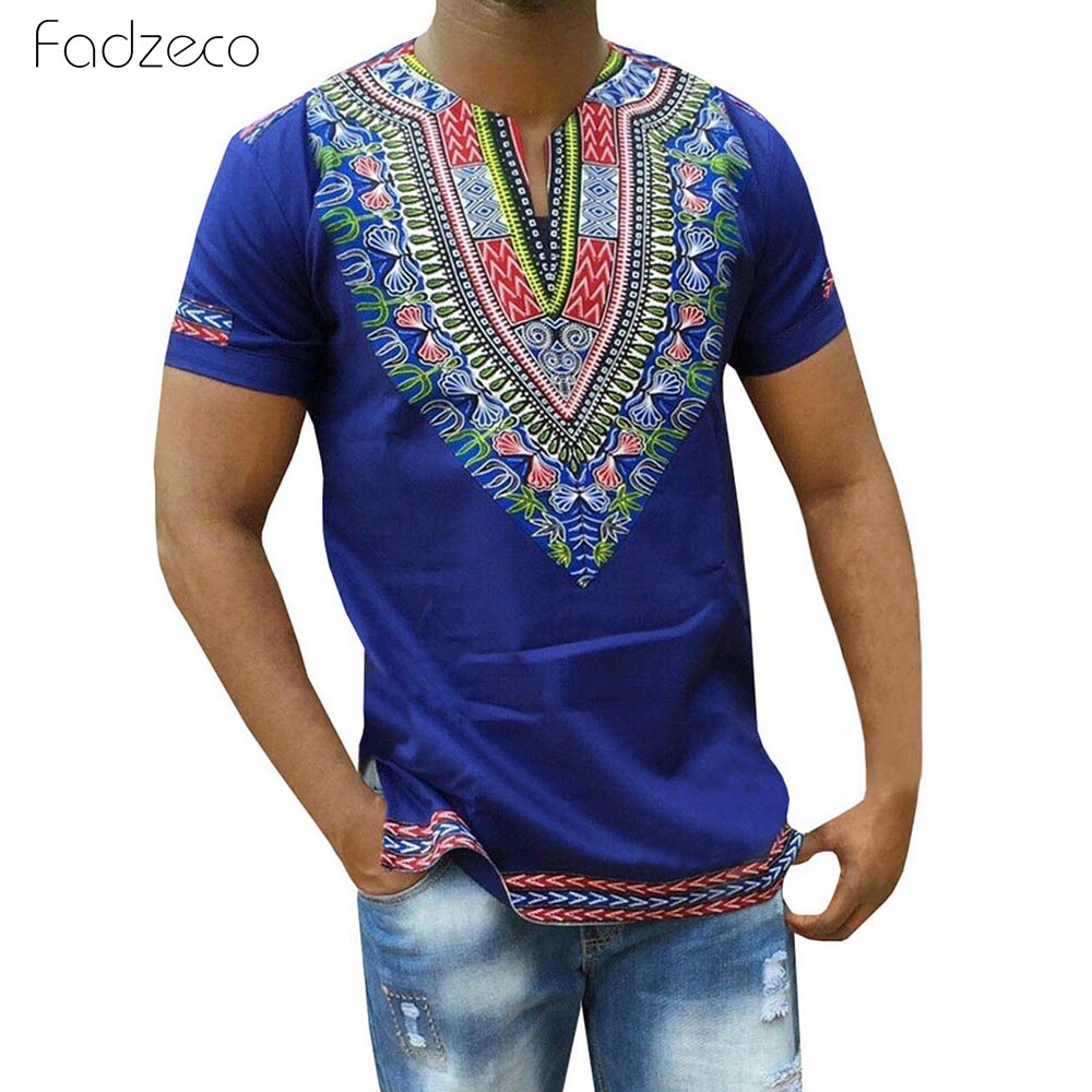 Fadzeco 2019 African Shirt For Men Print V Neck Tribal Short Sleeve Slit Men T-Shirt Big Size Dashiki Male Tops African Clothes