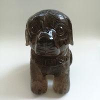 1 кг природный дымчатый кварц кристалл изысканный ручной резьбой статуя собаки