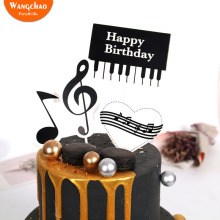 1set Piano Music Theme Cake Topper  Happy Birthday Cupcake Party Supplies DIY Accessories