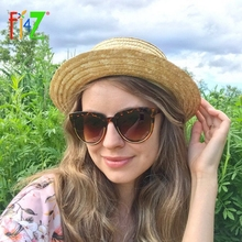 F.J4Z Top Trends Women Sunglasses Retro Cat Eye Sun glasses Classic Brand Designer Semi-Rimless Protection Shades