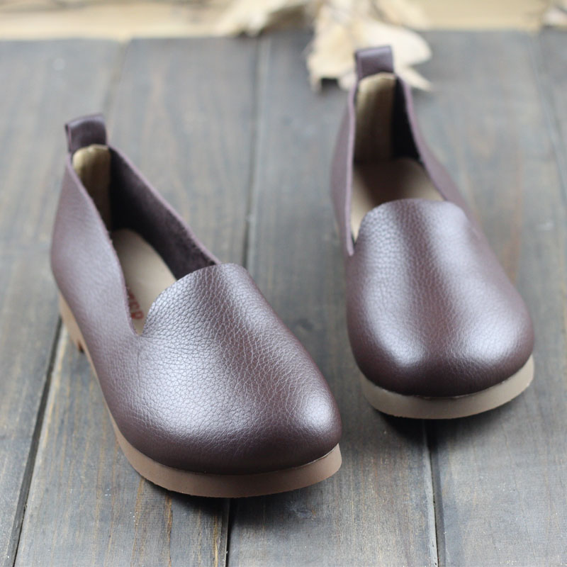Careaymade-Head layer cowhide pure handmade flat shoes,cowhide overhead lazy shoes,comfortable soft sole single shoes