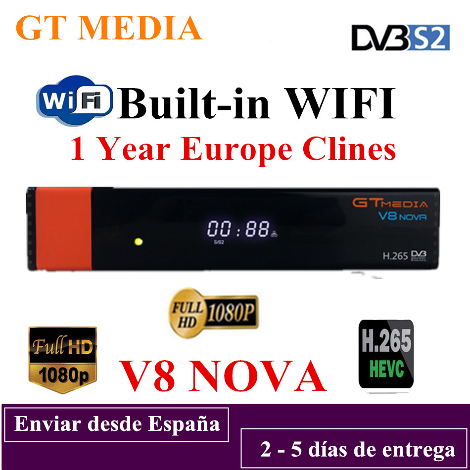 GTMedia V8 Nova Full HD H 265 DVB S2 decoder Satellite Receiver 1 Year Europe Spain