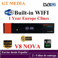 Freesat GTMEDIA V7S HD Satellite Receiver +USB WIFI +Cline 1 Year Europe  Spain clines Upgrade From V7 HD DVB-S2 Digital Receptor