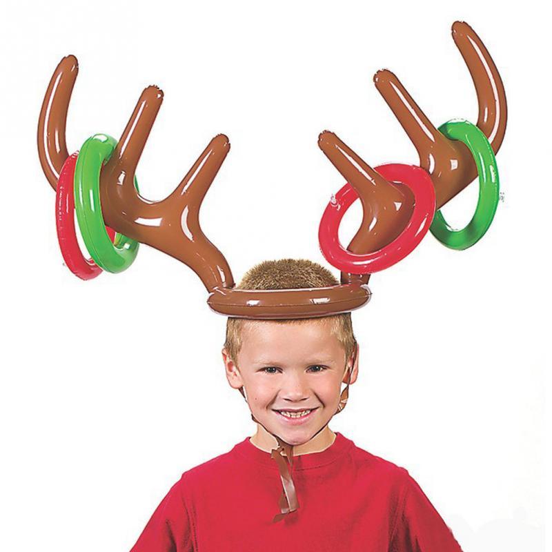 nios kids inflable divertido anillo de tirar del reno de la cornamenta del sombrero de santa