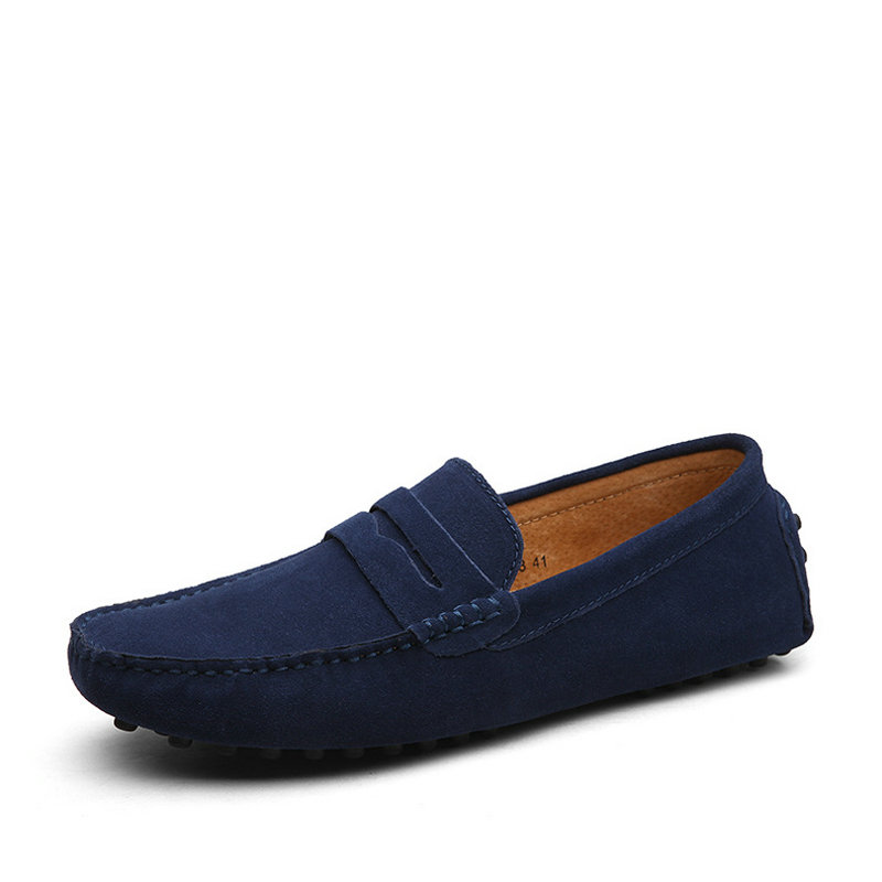 New Slip On Men Casual Shoes Cow Suede Leather Driving Shoes Men Loafers Moccasins Male Plus Size 45 46 47  RME-354