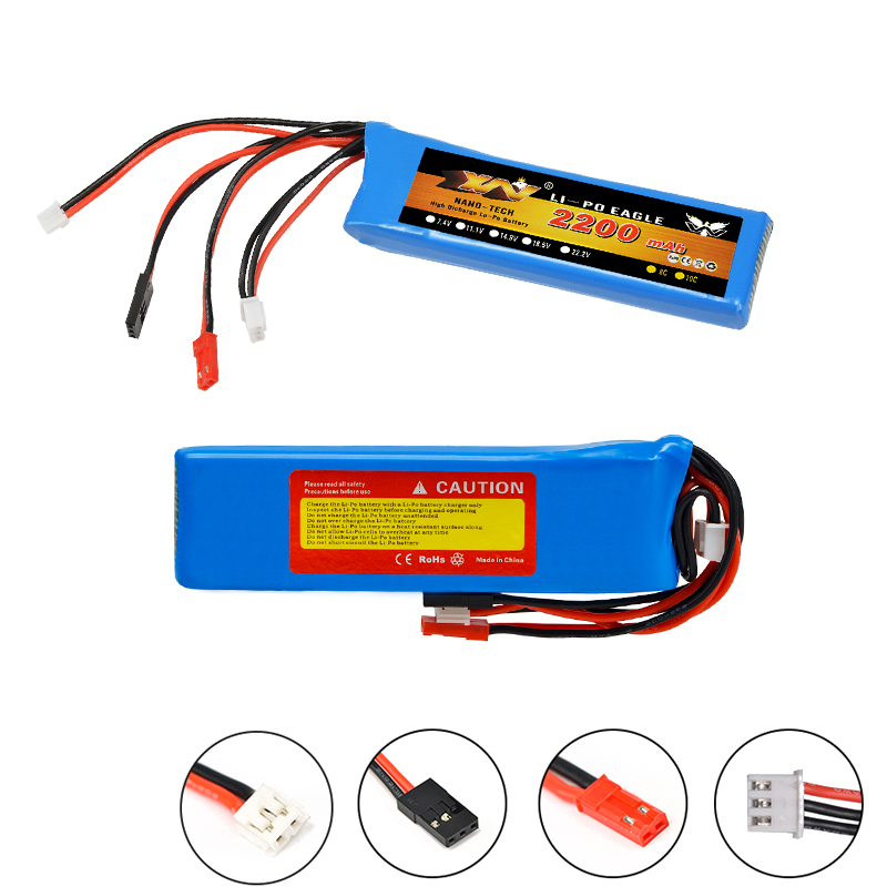 Rc Lipo <font><b>Battery</b></font> <font><b>7.4V</b></font> <font><b>2200mah</b></font> 8C 2S Lipo <font><b>Battery</b></font> for Futaba T6J T8FG 12FG Transmitter for RC Drone image