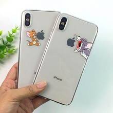 Grappige Cartoon Telefoon Case Voor iphone X XS 11Pro Max XR Leuke Kat Tom Cover voor iphone 8 7 6 6S Plus 5S SE Zachte Siliconen Clear Case(China)