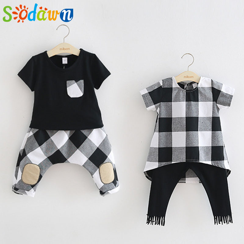 Sodawn 2017 Brother sister Clothes Summer New Children Clothse BoysGirls Lattice Short Sleeve Shorts Suit Boy