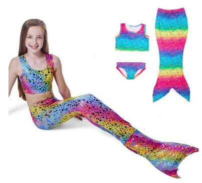 CaGiPlay Newest Lovely Princess Children Baby Girls Mermaid Tail Bath Split Swimsuit Costume Swimsuit Bikini Set Dress Age 3-12Y