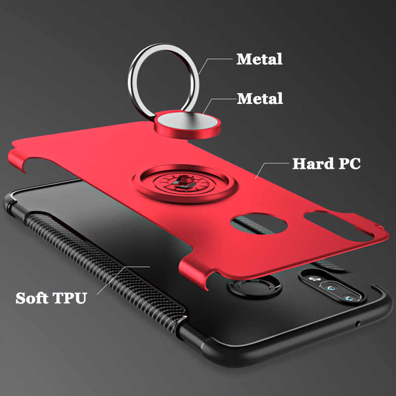 For Huawei P30 P20 Lite P20Lite Case Stand Suction Finger Ring Matte Hard PC Soft TPU Armor For Huawei P30 P20 Pro Cover Fundas